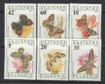Бабочки на Цветах, Болгария 1990 г, 6 марок. (н). мл