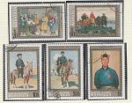 Живопись, Монголия 1972   год, 5 гашеных  марок  .