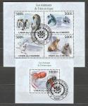 Коморы 2010 год, Фауна Антарктиды, гашёный малый лист + блок