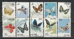 Бабочки, Китай 1963 год, 10 гашёных марок