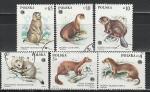 Пушные Звери, Польша 1984, 6 гаш. марок