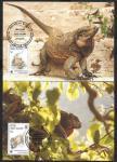 Картмаксимум. Комплект 4 шт. Игуана со СГ - Остров Вирджиния  WWF 18.03.94 г.