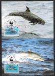 Картмаксимум. Комплект 4 шт. Дельфины со СГ - Ниуэ WWF 13.01.1993 г.