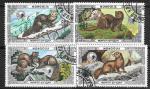 Соболь. Монголия 1986 г. 4 гаш. марки.