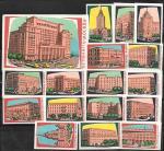 Набор спичечных этикеток. Гостиницы Москвы. 17 шт. 1962 год