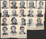 Набор спичечных этикеток. Русские писатели. 1962 год. 18 шт