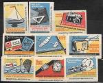 Набор спичечных этикеток. Высылает центральная база Посылторга! 1960 год. 9 шт.