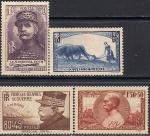 Франция 1940 год. Участие страны в войне. 4 марки с наклейкой