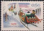 Финляндия 1976 год. Рождество. Прогулка на санях. 1 марка