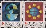 Финляндия 1984 год. Красный крест. Призыв к объединению наций. 2 марки