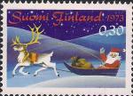Финляндия 1973 год. Рождество. Санта-Клаус на санях. 1 марка