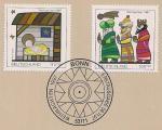 ФРГ 1997 год. Картинки на тему Рождества. 2 марки на листе с гашением первого дня