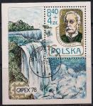 Польша 1978 год. Филвыставка в Торонто. Переводчик Казимир Гровски. Водопад. Гашеный блок