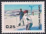 Финляндия 1968 год. Зимний отдых . Горные лыжи. Марка