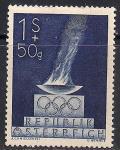 Австрия 1948 год. Летние Олимпийские Игры в Лондоне. Марка с наклейкой
