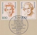 ФРГ 1997 год. Известные женщины Германии - Элизабет Шварцхаупт и Мария Пробст. 2 марки на листе с гашением первого дня