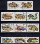 Гвинея 1977 год. Рептилии. 11 гашеных марок
