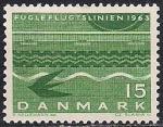Дания 1963 год. Открытие авиатрассы кратчайшего сообщения между Германией и Данией. Марка