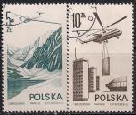 Польша 1976 год. Современная авиация. Вертолеты. 2 гашеные марки