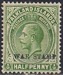 Фолклендские острова 1919 год. Король Георг 5-й. 1 марка из серии с надпечаткой