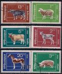 Болгария 1974 год. Лошадь, овца, коза, корова, свинья. 6 гашеных марок
