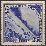 Тува 1935 год. Горная река. 1 марка с наклейкой