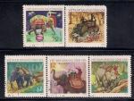 Вьетнам 1974 год. Использование слонов в различных работах. 5 гашеных марок