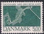 Дания 1993 год. 500 лет установлению дипломатических отношений между Данией и Россией. 1 марка