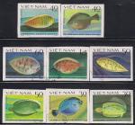 Вьетнам 1982 год. Камбалы. 8 гашеных марок без зубцов