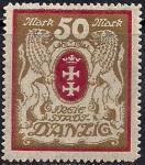 Германия Рейх. Данциг 1923 год. Герб со львами. 1 марка из серии