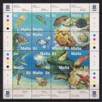 Мальта 1999 год. Рыбы, осьминоги, медузы. 1 блок