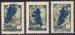 Молдавия 1994 год. Перевёрнутая надпечатка нового номинала на марках СССР. 3 марки