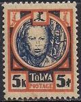 Тува 1927 год. Голова тувинца. 1 марка с наклейкой