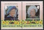 Монсеррат 1985 год. Королева Елизавета. 2 марки с надпечаткой