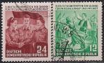 ГДР 1954 год. Молодёжный фестиваль. 2 гашёные марки