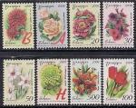 Беларусь 2008 год. Виды садовых цветов. Тёмный фон. 8 марок