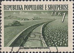 Албания 1953 год. Восстановление народного хозяйства. Канал Кавайе (ном. 1). 1 гашёная марка из серии