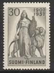 Финляндия 1957 год. Скульптура со львом. 50-летие финского однопалатного Парламента. 1 марка