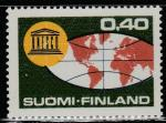 Финляндия 1966 год. Глобус и эмблема ЮНЕСКО. 20 лет ЮНЕСКО. 1 марка