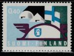 Финляндия 1969 год. Финский флаг и эмблема выставки. 1 марка