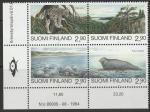 Финляндия 1995 год. Охрана природы: северная рысь, кольчатая нерпа. квартблок без полей
