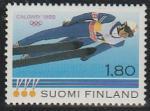 Финляндия 1988 год. Матти Нюкянен - абсолютный чемпион по прыжкам с трамплина на зимней Олимпиаде в Калгари. 1 марка