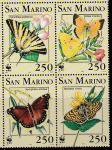 Сан-Марино 1993 год. Бабочки на цветах. 4 марки