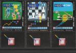 Израиль 1990 год. Компьютерные игры. 3 марки с купонами