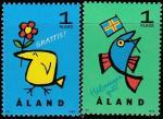 Аланды 1996 год. Приветствие брендов. Цветок и флаг страны. 2 марки