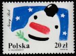 Польша 1988 год. Новый Год. Снеговик и звёздное небо. 1 марка