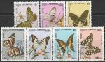 Кампучия. Камбоджа 1986 год. Бабочки на цветах. 7 гашёных марок