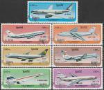 Кампучия. Камбоджа 1986 год. Самолёты. 7 гашёных марок