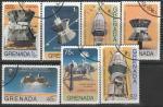 """Гренада 1976 год. Космические исследования по программе """"Викинг-Гелиос"""", 7 гашёных марок (ю)"""