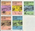 """Чад 1976 год. Исследование Марса космическими зондами """"Викинг"""", 5 гашёных марок (ю)"""